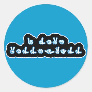VolleyChick I Love Volleyball ASL Classic Round Sticker