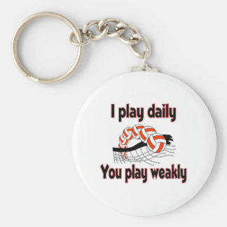 VolleyChick I Play Daily Basic Round Button Keychain