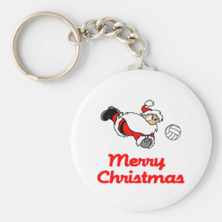 VolleyChick Santa Digs Merry Christmas Keychain