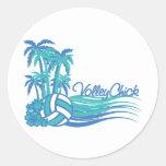 VolleyChickWaver Round Stickers