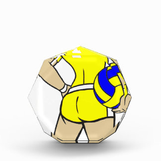 VOLLEYGIRL YELLOW BRUNETTE ACRYLIC AWARD