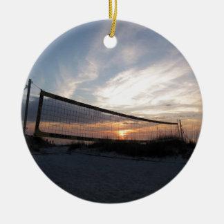 Vollyball Beach Sunset Ceramic Ornament