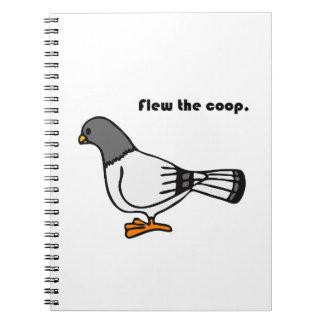 Voló el dibujo animado gris de la paloma del galli libro de apuntes con espiral