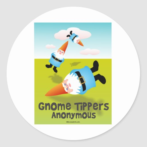 Volquetes del gnomo anónimos pegatina redonda