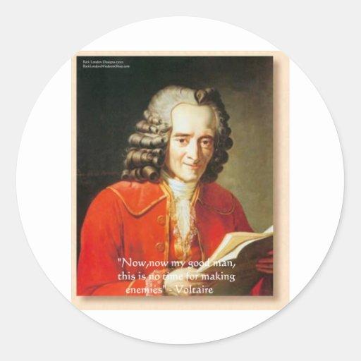 Voltaire camisetas etc de los regalos de la cita pegatina redonda