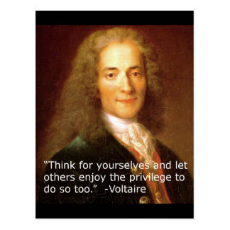 Voltaire copy quote thinking for oneself postcard