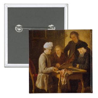 Voltaire en el ajedrez pin cuadrada 5 cm