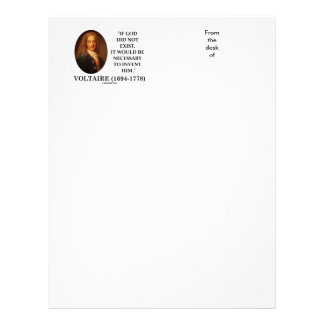 Voltaire If God Did Not Exist Necessary To Invent Letterhead