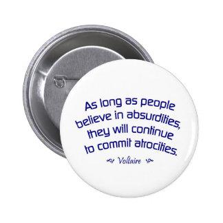 Voltaire on Absurdities 2 Inch Round Button