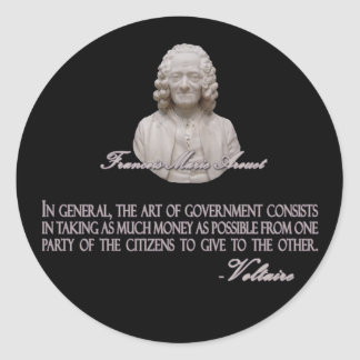 Voltaire on the Art of Government Classic Round Sticker
