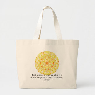Voltaire quotation about FAITH Large Tote Bag