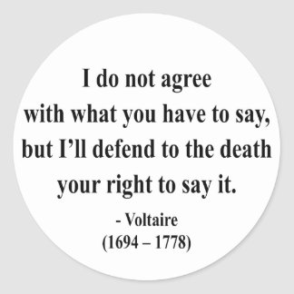 Voltaire Quote 1a Classic Round Sticker