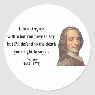 Voltaire Quote 1b Classic Round Sticker