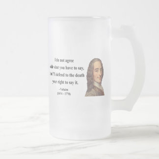 Voltaire Quote 1b Frosted Glass Beer Mug
