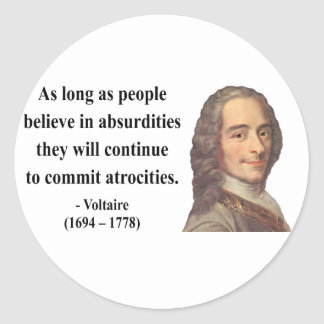 Voltaire Quote 2b Classic Round Sticker