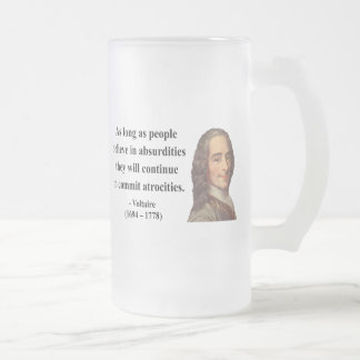 Voltaire Quote 2b Frosted Glass Beer Mug