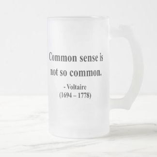 Voltaire Quote 3a Frosted Glass Beer Mug