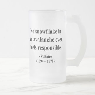 Voltaire Quote 6a Frosted Glass Beer Mug