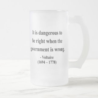 Voltaire Quote 7a Frosted Glass Beer Mug