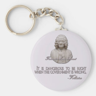 Voltaire Quote on Wrong Government Keychain