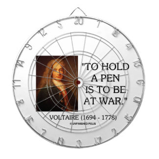 Voltaire To Hold A Pen Is To Be At War Quote Dartboard With Darts