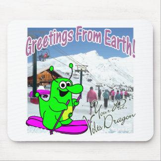 Voltios de esquí del dragón alfombrillas de ratón