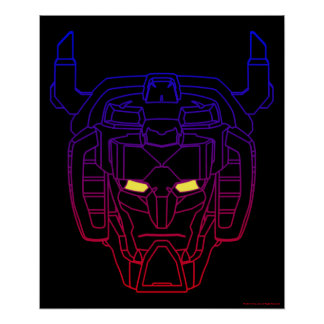 Voltron   Blue-Red Gradient Head Outline Poster