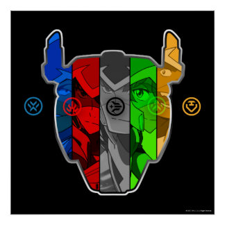 Voltron | Pilots In Voltron Head Poster