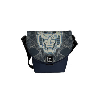 Voltron | Voltron Head Blue and White Outline Messenger Bag