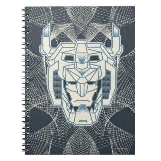 Voltron   Voltron Head Blue and White Outline Spiral Notebook