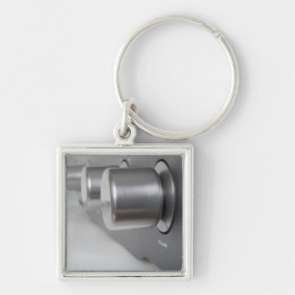 Volume Knob Silver-Colored Square Keychain