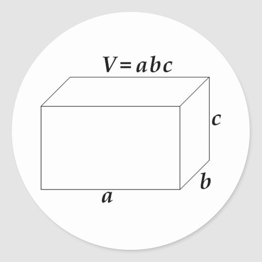Volume of a Rectangular Prism Classic Round Sticker