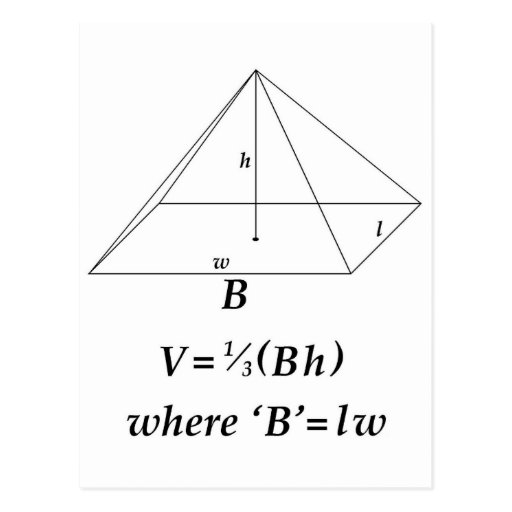 volume of a pyramid The volume, v, of a pyramid in cubic units is given by where a is the area of the base and h is the height of the pyramid volume of a square-based pyramid the volume of a square-based pyramid is given by.