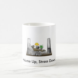 Volume Up, Stress Down. Classic White Coffee Mug
