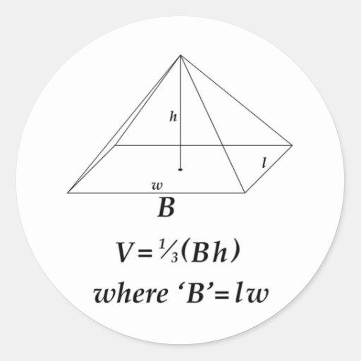 Volumen de una pirámide rectangular pegatina redonda
