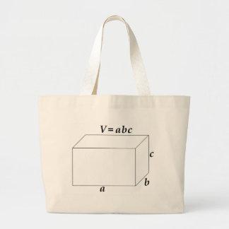 Volumen de una prisma rectangular bolsa de tela grande