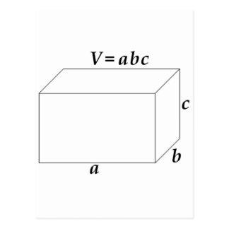 Volumen de una prisma rectangular tarjeta postal