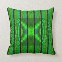 Volumetric green throw pillow