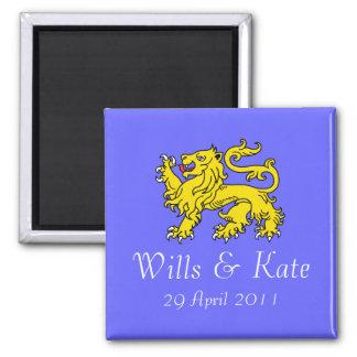Voluntades e imán real del boda de Kate (azul)