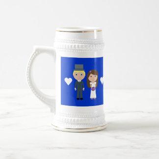 Voluntades reales del boda y dibujo animado lindo jarra de cerveza