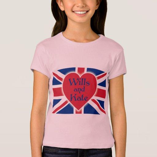 Voluntades y Kate con Union Jack en las camisetas, Playera