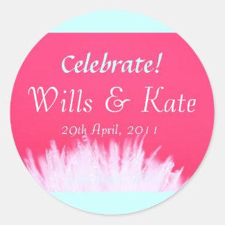 Voluntades y pegatinas reales del boda de Kate Pegatina Redonda