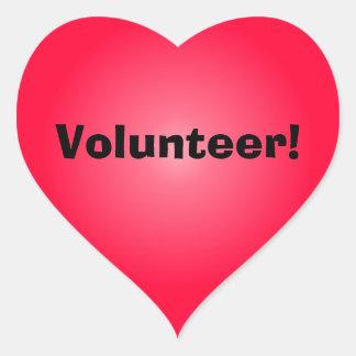 Voluntario: Comparta su corazón Pegatina En Forma De Corazón