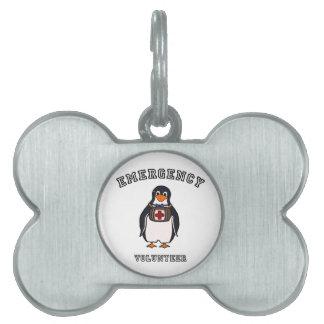 Voluntario de la emergencia placas de nombre de mascota