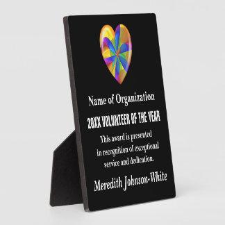 Voluntario del premio del año placa