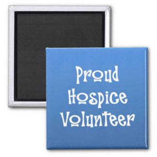 Voluntario orgulloso del hospicio imán cuadrado