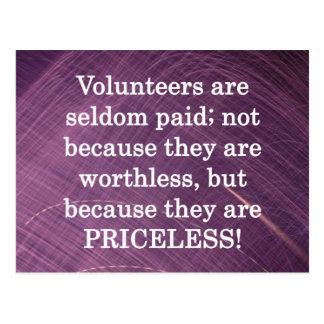 Voluntarios inestimables tarjeta postal