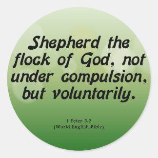 Voluntary Service 1 Peter 5-2 Classic Round Sticker