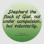 Voluntary Service 1 Peter 5-2 Round Sticker
