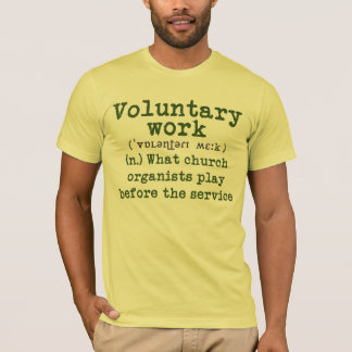 Voluntary work tee - green letters